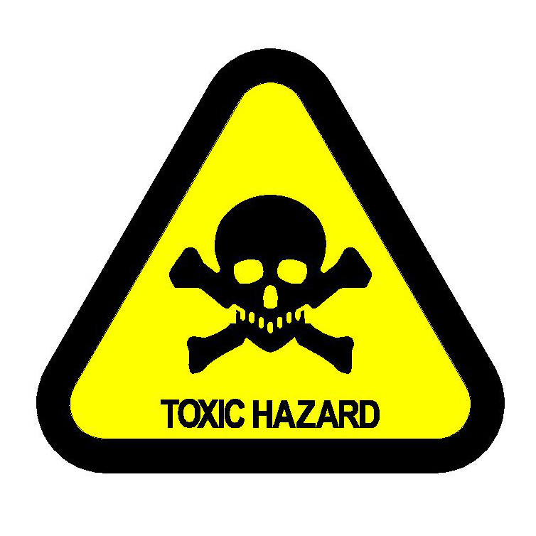 Toxic Hazard Label CDC / ISO Type 2 (-VE)
